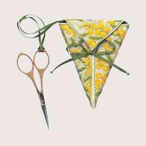 Étui À Ciseaux Mimosas - Ce kit comprend: toile en étamine de lin naturel e 12 fils/cm, feutrine verte, dimension du modèle brodé 10 x 10 cm, les cotons à broder DMC, le diagramme créé par Cécile Vessière et les instructions, ruban, une aiguille à broder.