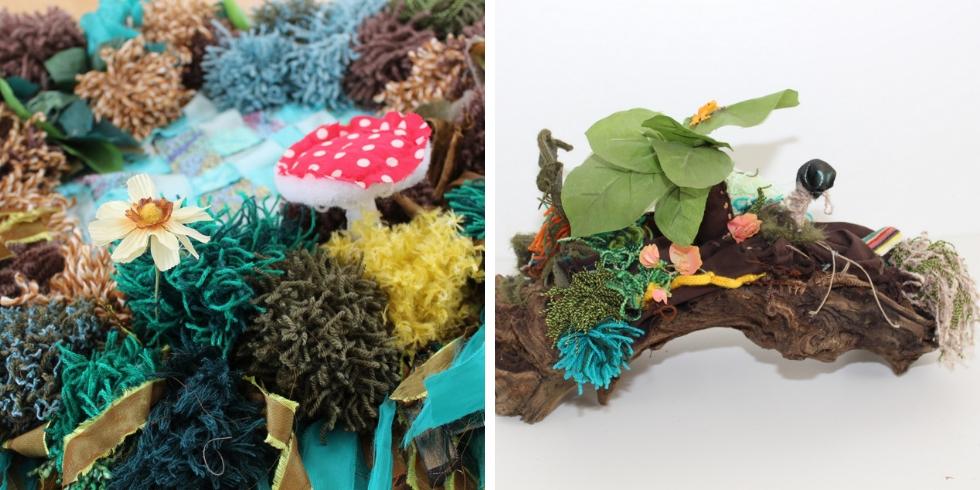 Zoom sur les détails tout en textile de cette installation Forêt