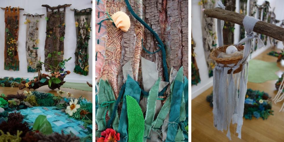 Venez vous balader dans cette forêt enchanté réalisée tout en art du fil par des élèves de primaire