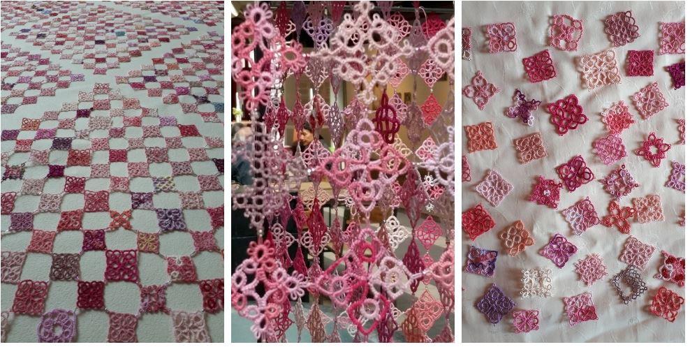 Un projet monumental autour d'une multitude de petits carrés de dentelle rose