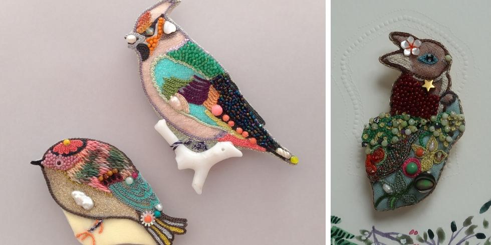 Découvrez les créations d'accessoires brodés de Rika Ogasawara